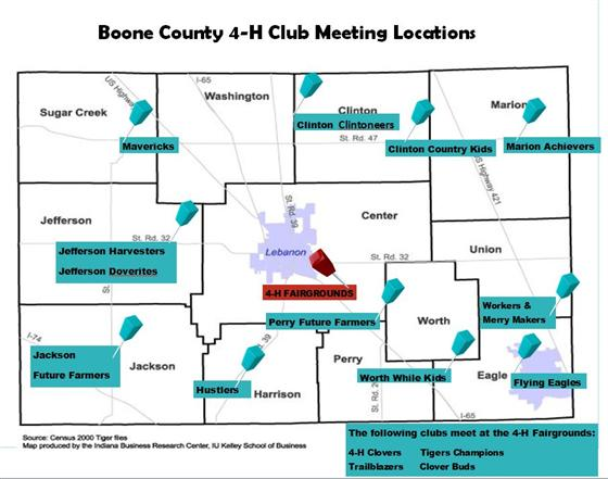 Map of Boone County with the locations of where each 4-H Club regularly meets