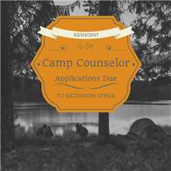Camp Counselor Applications are due to the Extension Office by February 1, 2017