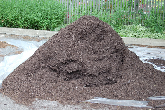 A pile of hardwood mulch