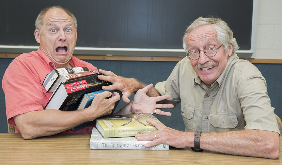 Tom Turpin pushes entomology books off onto Tim Gibb