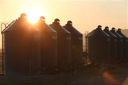 Sunrise over silos