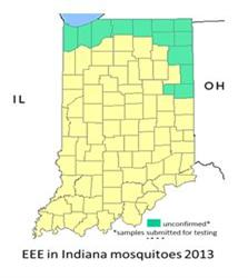 WNV in Indiana mosquitoes 2013.