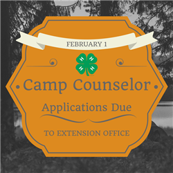 Camp Counselor Applications Due to Extension Office February 1