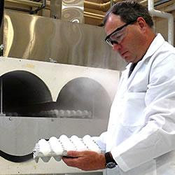 Kevin Keener developed a rapid egg cooling system that uses circulated carbon dioxide to create a th