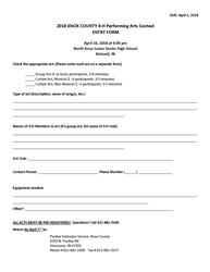 Knox Co Perform Arts Contest Entry Form 2018