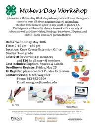 Knox County Makers Day Workshop Flyer