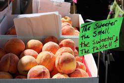 peaches on a farmers' market stand