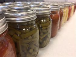 Filled canning jars