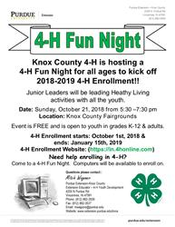 Knox County 4-H Fun Night Flyer