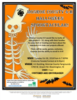 Orange flyer with skeleton and moon giving details about the spooktacular event