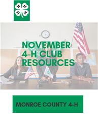 Picture of 3 youth in background at 4-H meeting with text reading November 4-H Club Resources, Monro