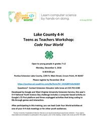 Lake County 4-H Teens as Teachers Workshop: Code Your World