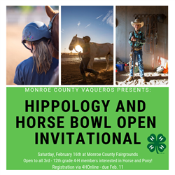 3 pictures of youth with horses and information about the event (date, time, registration)