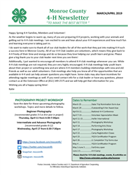 1st page of newsletter