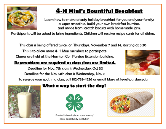 Mini 4-H Breakfast
