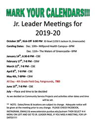 Jr. Leader Calendar dates