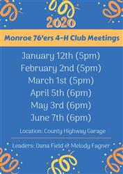 2020 Monroe 76'ers 4-H Club Meetings