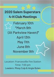 2020 Salem Superstars 4-H Club Meetings