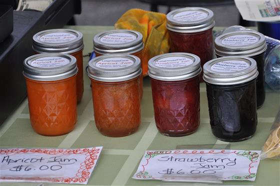 Canned jam for sale at farmer's market.