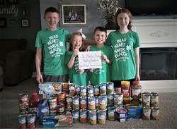 Seth, Tessa, Trey, and Summer Guillaume Donated Food to St. Martin's Food Pantry