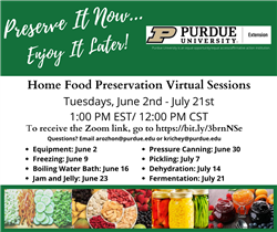 Home Food Preservation Virtual Sessions