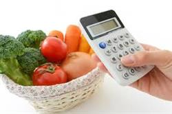 Food in basket with Calculator