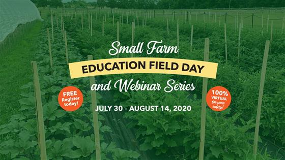 Small Farm Education Field Day and Webinar Series in white and yellow letters July 30 - August 14, 2