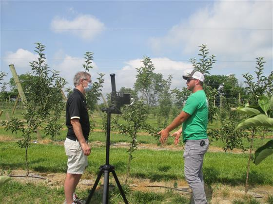 Peter Hirst, Purdue Extension fruit specialist, speaks with Calvin Beasley, owner of Beasley's Orcha