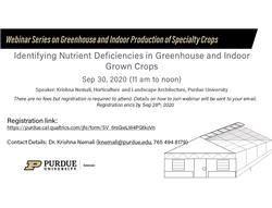 Webinar Series on Greenhouse and Indoor Production of Specialty Crops