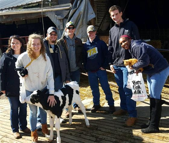 Amy Jones stands with a group of students and a dairy calf.