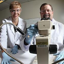 Purdue researchers Catherine Hill and Val Watts are designing insecticides that target dopamine rece
