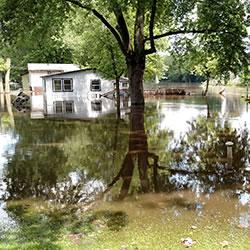 The Tippecanoe River in northwestern Indiana swelled over its banks in mid-June, flooding dozens of
