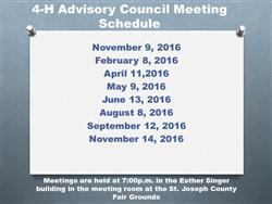 4-H Advisory Council Meetings