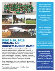 Indiana 4-H Horsemanship Camp flyer