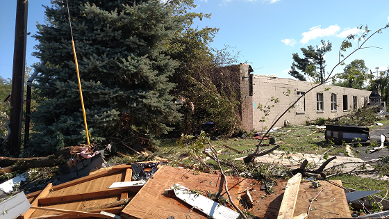 photo of 2016 tornado damage in Kokomo, IN