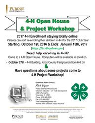 2017 4-H Open House & Project Workshop Flyer