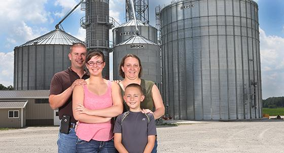 (From left) Jim, EllaMae, Nancy, and John Reiff are a Kosciusko County farm family who received an e